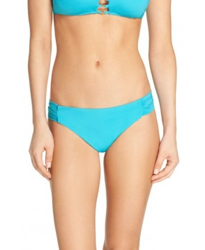 Trina Turk Shirred Side Bikini Bottoms  - Blue/green