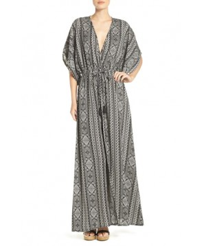 Elan Print Woven Cover-Up Caftan Maxi Dress