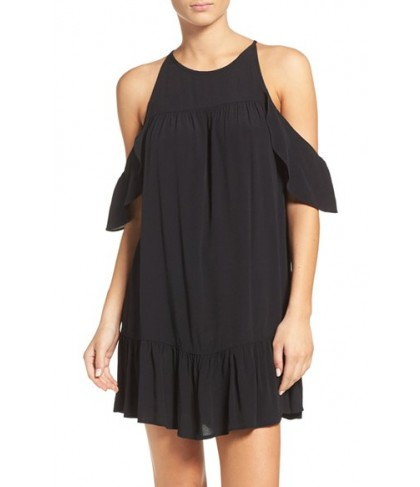Suboo Valley Frill Cover-Up Dress  - Black