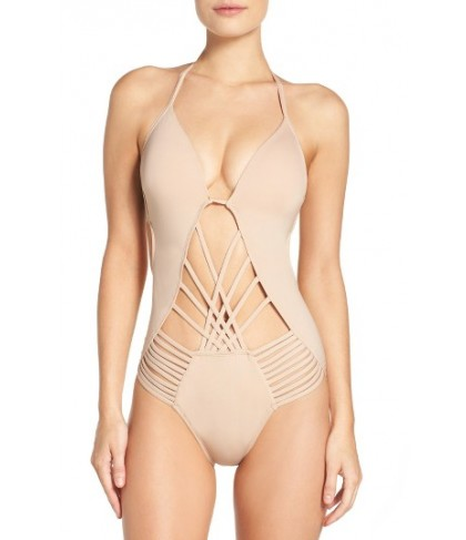 Kenneth Cole New York Push-Up One-Piece Swimsuit - Beige