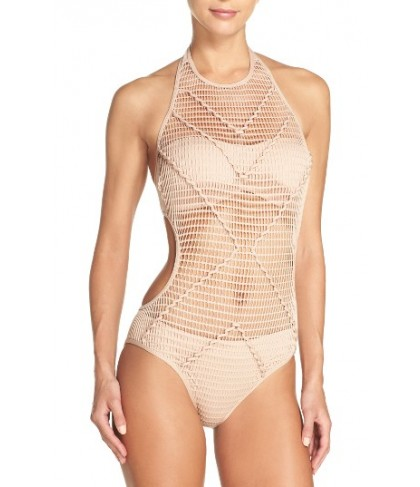 Kenneth Cole New York Wrapped In Love One-Piece Swimsuit - Beige