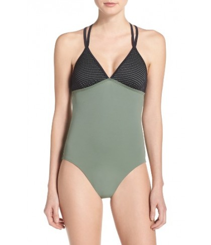 Zella Colorblock One-Piece Swimsuit - Green