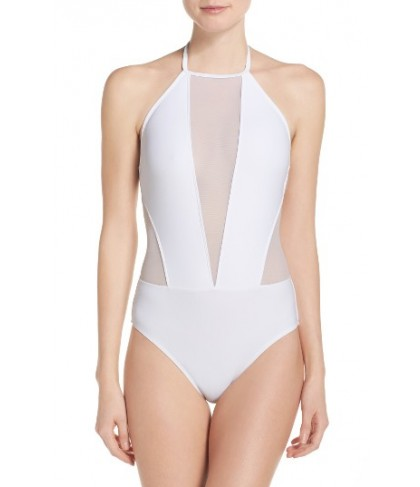 Ted Baker London Halter One-Piece Swimsuit - White