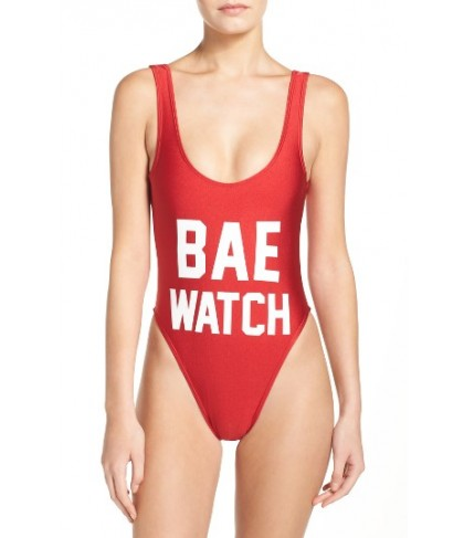 Private Party Bae Watch One-Piece Swimsuit/Large - Red