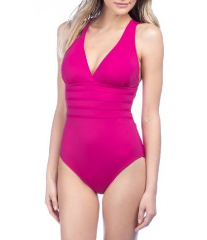 La Blanca Cross Back One-Piece Swimsuit - Purple