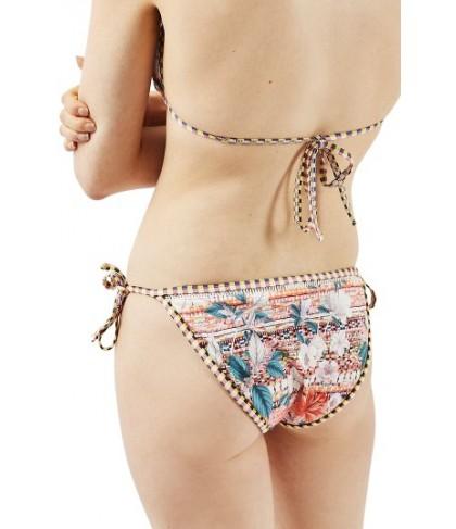 Topshop Floral Geo Tie Bikini Bottoms - Ivory