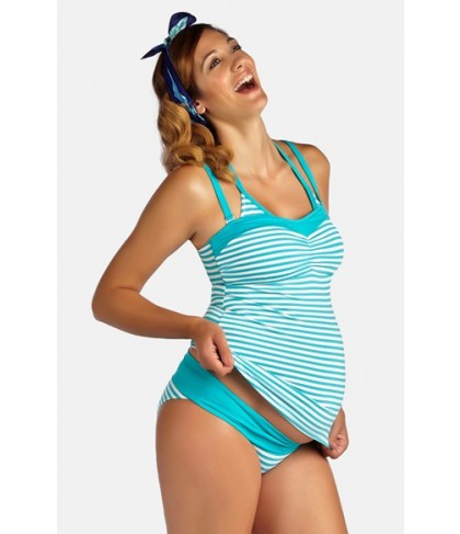 Pez D'Or 'La Mer' Three-Piece Maternity Swimsuit Set  - Blue