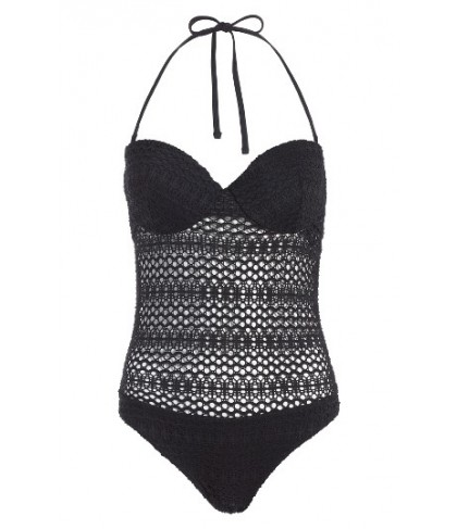 Topshop Crochet One-Piece Swimsuit US (fits like 0-2) - Black