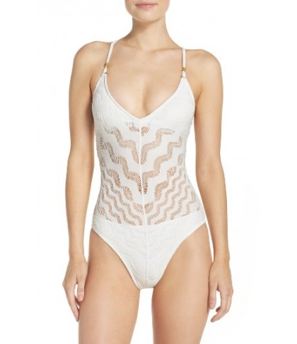Robin Piccone Crochet One-Piece Swimsuit - White