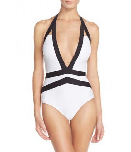Ted Baker London 'Ralinda' Halter One-Piece Swimsuit Size  - White