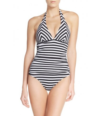 Tommy Bahama Stripe One-Piece Swimsuit  - White