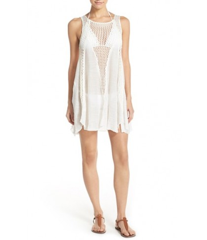 Elan Crochet Inset Cover-Up Dress  - White