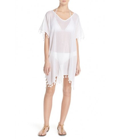 Seafolly 'Amnesia' Cotton Gauze Cover-Up Caftan Size One Size - White