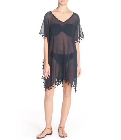 Seafolly 'Amnesia' Cotton Gauze Cover-Up Caftan Size One Size - Blue