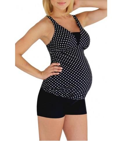 Mermaid Maternity Polka Dot Tankini Top  - Black