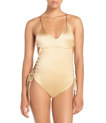 Lovers + Friends 'Blakely' Lace-Up One-Piece Swimsuit  - Beige