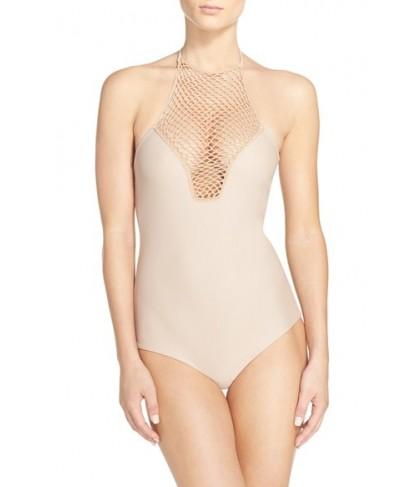 Acacia Swimwear Crochet Halter One-Piece Swimsuit - Ivory